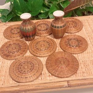 Vintage Woven/Wood Coasters and Two Bud Vases